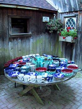 Pottery on a picnic table